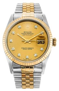 Rolex Rolex Datejust 18K /SS Custom Champagne Diamond Dial Watch