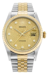 Rolex Rolex Datejust 18K /SS Custom Champagne Jubilee Diamond Dial Watch
