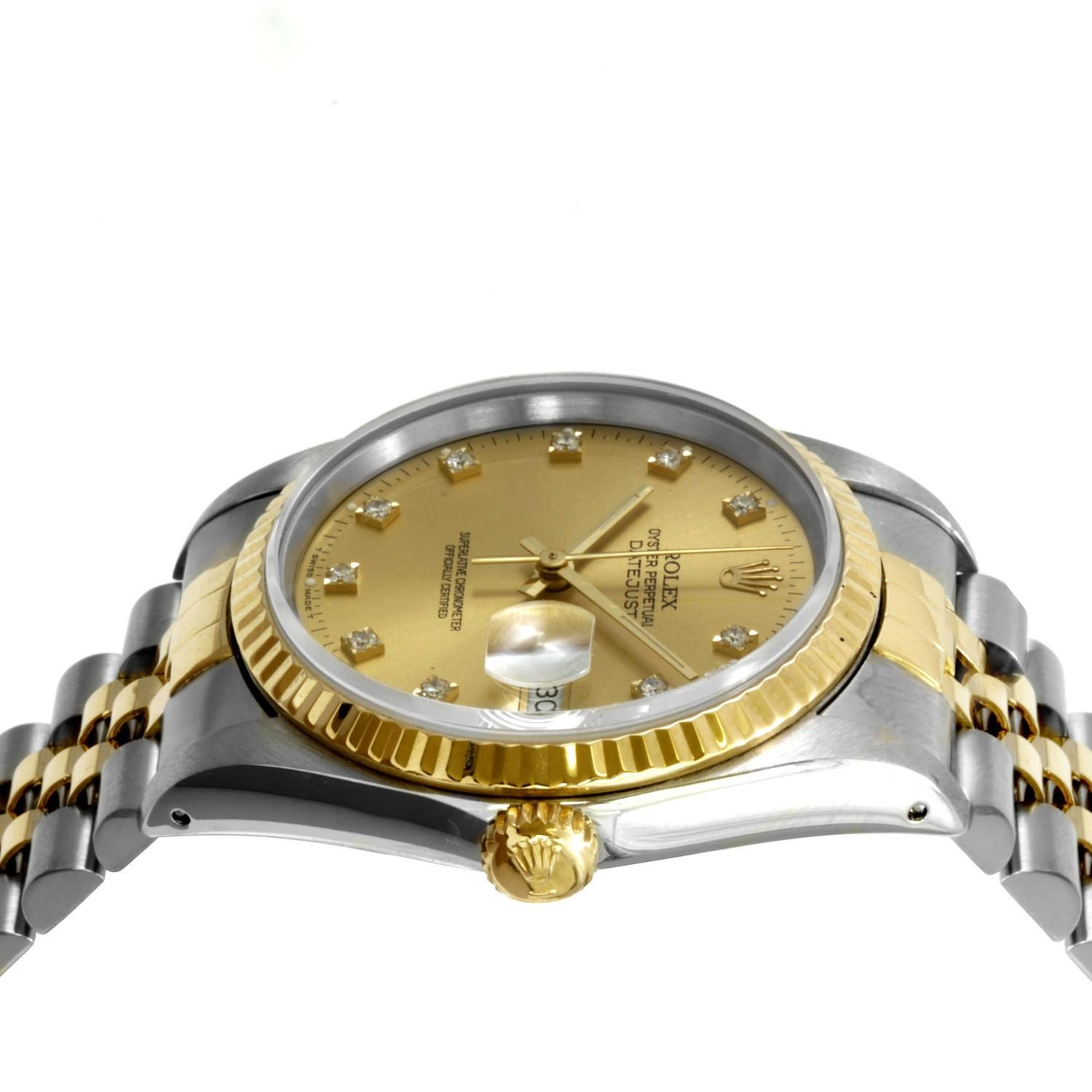 rolex silver gold datejust 18k yellow and steel diamond