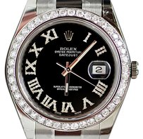 Rolex Rolex Datejust 2 41mm Stainless Steel With Black Roman Diamond Dial Bezel 116300