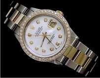 Rolex Rolex Datejust 2tone 18k Gold Steel W White Mop Diamond Dial 1.4 Ct Bezel 16013