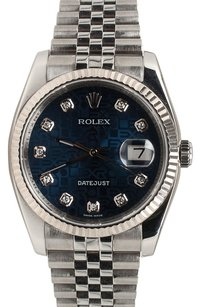 Rolex Rolex Datejust Stainless Steel Custom Diamonds Blue Jubilee Dial Men's Watch