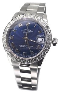 Rolex Rolex DateJust Blue Roman Dial Diamond Bezel Stainless Steel Watch