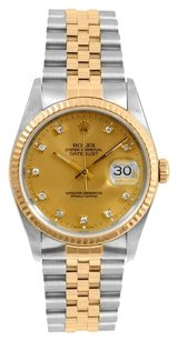 Rolex Rolex Datejust 18K Yellow Gold and Stainless Steel Custom Diamond Men's Watch