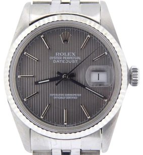 Rolex Rolex Datejust Men Stainless Steel 18k White Gold Jubilee Slate Tapestry 16014