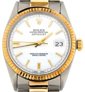 Rolex Rolex Datejust Mens 2tone 14k Gold Stainless Steel Watch Oyster White Dial 1601