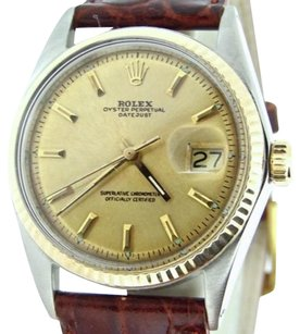 Rolex Rolex Datejust Mens 2tone 14k Yellow Goldstainless Steel Watch Champagne Dial