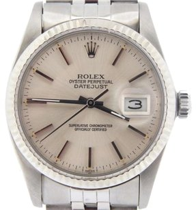 Rolex Rolex Datejust Mens Stainless Steel 18k White Gold Watch W Jubilee Band 16014