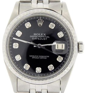 Rolex Rolex Datejust Mens Stainless Steel Jubilee Watch With Black Diamond Dial 1603
