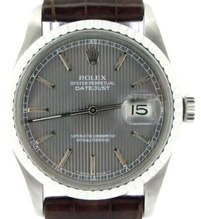 Rolex Rolex Datejust Mens Stainless Steel Watch Brown Strap Slate Tapestry Dial 16030