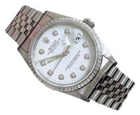 Rolex Rolex Datejust Mens Stainless Steel Watch Jubilee Band White Diamond Dial 16220