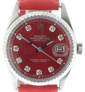 Rolex Rolex Datejust Mens Stainless Steel Watch W Red Diamond Dial Strap Band 1603