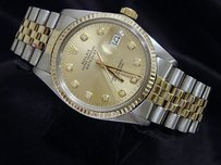 Rolex Rolex Datejust Mens Two-tone 14k Gold Stainless Steel Champagne Diamond 16013