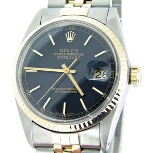 Rolex Rolex Datejust Mens Two-tone 18k Yellow Gold Stainless Steel Black Jubilee 16013