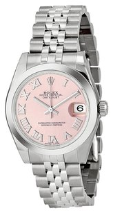 Rolex Rolex DateJust Midsize Stainless Steel Pink Roman Dial Watch 178240