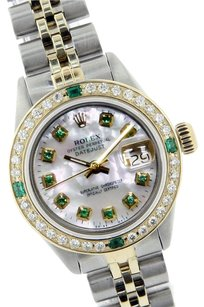 Rolex Rolex Datejust Mother of Pearl Emerald Diamond Lady Watch 69173