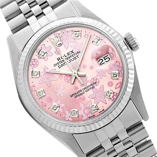 Rolex Rolex Datejust Pink Floral Diamond Mens Watch 36mm 16014