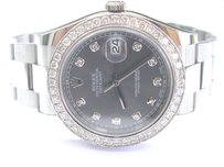 Rolex Rolex Datejust Rhodium Dial Ss Oyster Automatic Mens Watch Diamond Dial 116334
