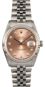 Rolex Rolex DateJust Salmon Diamond Dial Watch 16234