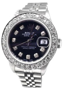 Rolex Rolex DateJust Stainless Steel Black Diamond Dial Watch