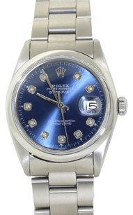 Rolex Rolex DateJust Stainless Steel Custom Diamond Blue Dial Men's Watch