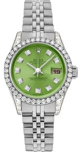 Rolex Rolex Datejust Stainless Steel Custom Diamond Green Dial Ladies Watch