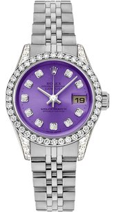Rolex Rolex Datejust Stainless Steel Custom Diamond Violet Dial Ladies Watch