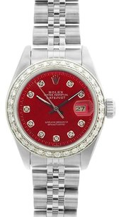 Rolex Rolex DateJust Stainless Steel Red Dial Diamond Watch 69174