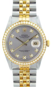 Rolex Rolex DateJust Two-Tone Grey Dial Diamond Bezel Watch 16013