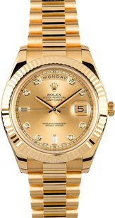 Rolex Rolex Day Date II President Yellow Gold Champagne Diamond Dial Watch 218238
