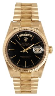 Rolex Rolex Day Date 18K Yellow Gold Black Dial Men's Presidential Watch