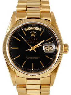 Rolex Rolex Day-Date 18K Yellow Gold Black Dial Men's Presidential Watch