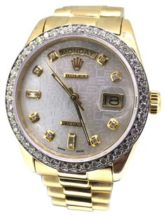 Rolex Rolex Day-Date Silver Diamond Jubilee Dial 18k Yellow Gold President Watch