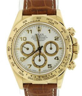 Rolex Rolex Daytona Zenith Cosmograph 16518 18k Gold White Leather Chrono Watch Complete Box Papers