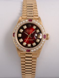 Rolex Rolex Ladies 18k Gold President-Red Vignette Diamond Dial-Ruby Bezel