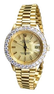 Rolex Rolex Ladies DateJust 18k Yellow Gold Champagne Dial Diamond Bezel President Watch 6917