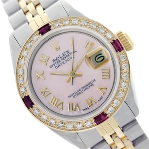 Rolex Rolex ladies Datejust 69173 Pink Roman Numeral Dial Two-tone Watch