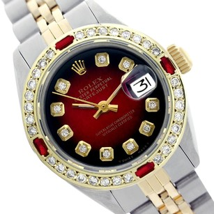 Rolex Rolex ladies Datejust 69173 Red Vignette with Diamond bezel Watch