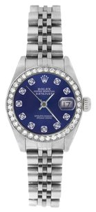 Rolex Rolex Ladies Datejust Stainless Steel Blue Diamond Dial & Diamond Bezel Watch 69174