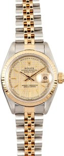 Rolex Rolex Ladies DateJust Two-Tone Champagne HoundsTooth Dial Watch 69173