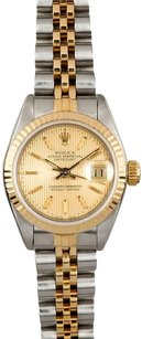 Rolex Rolex Ladies DateJust Two-Tone Champagne Tapestry Stick Dial Watch 6917