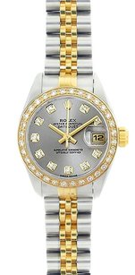 Rolex Rolex Ladies DateJust Two-Tone Silver Diamond Watch 69173