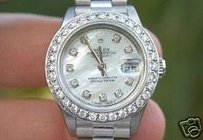 Rolex Rolex Ladies Datejust White Gold President Band Big Oversized Diamond Bezel