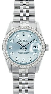 Rolex Rolex Ladies Midsize DateJust ice Blue Diamond Watch 68240