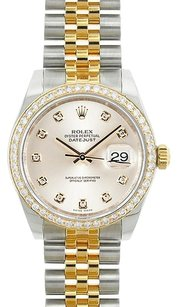 Rolex Rolex Ladies Midsize DateJust Two-Tone Silver Diamond Watch 17838