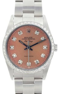 Rolex Rolex Men's Air King Stainless Steel Salmon Diamond Dial Watch 14000