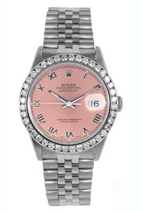 Rolex Rolex Men's DateJust Salmon Roman 2ct Diamond Bezel Watch 16014