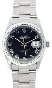 Rolex Rolex Men's DateJust Stainless Steel Black Roman Dial Watch 16220