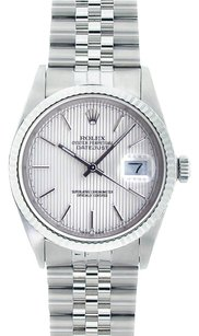 Rolex Rolex Men's DateJust Stainless Steel Silver Tapestry Dial Watch 16014