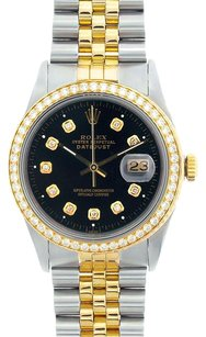 Rolex Rolex Men's DateJust Two-Tone Black Diamond Watch 16013